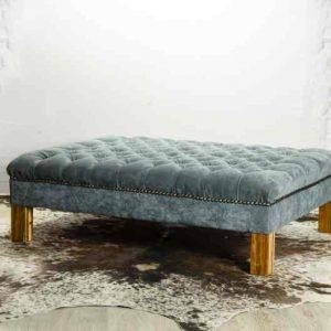 Deep Buttoned Ottoman – Fabric & Wood
